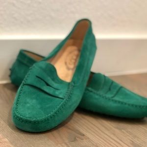 """Tod's Shoes - Tod's - Women's """"Gommino"""" Green Loafers - 40"""